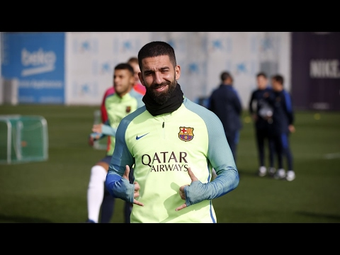 FC Barcelona training session: Plenty of good cheer at Thursday training