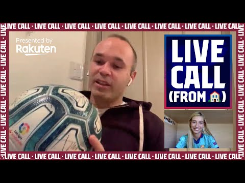 INIESTA shows the ball that ALL BARÇA TEAM MATES SIGNED for HIM! (LIVE CALL presented by Rakuten)