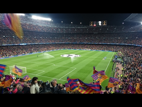 FC Barcelona Vs Paris St. Germain: Teams Entering and Champion League Anthem